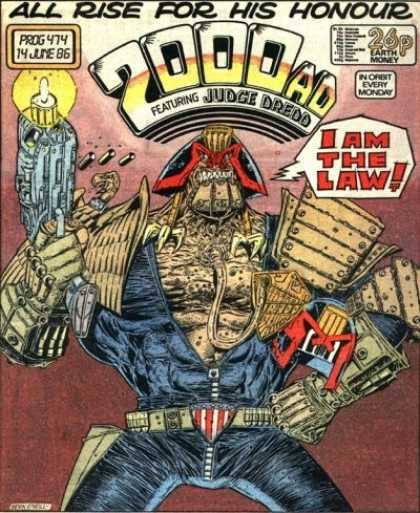 Judge Dredd - 2000 AD 474 - All Rise For His Honour - I Am The Law - Gun - Every Monday - Medals
