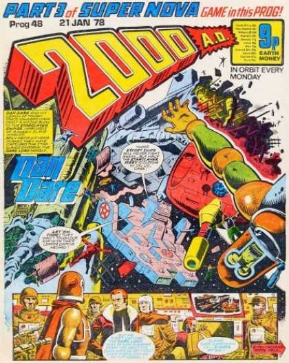 Judge Dredd - 2000 AD 48 - Dan Dare - Part 3 Of Super Nova - Game In This Prog - 9p Earth Money - 21 Jan 78