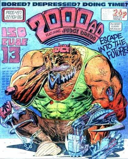 Judge Dredd - 2000 AD 497 - Bored Depressed Doing Time - Iso Cube 13 - Escape Into The Future - Muscled Guy - Future