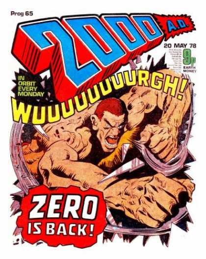Judge Dredd - 2000 AD 65 - May 20 1978 - In Orbit Every Monday - Zero Is Back - Redhead - Man