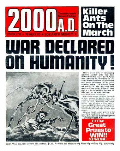 Judge Dredd - 2000 AD 78 - War Declared On Humanity - Killer Ants On The March - Extra Great Prizes To Win - Fake Newspaper Article - Giant Ant