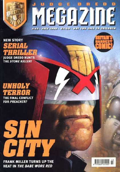 Judge Dredd Megazine III 43 - Serial Thriller - July 1998 - Britains Hardest Comic - Helmet - Unholy Terror