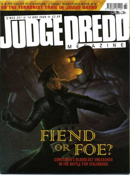 Judge Dredd Megazine IV 251 - Fiend Or Foe - The Master Of Steam Punk - In The Terrorist Trail - Brown Background - Fountain Pen