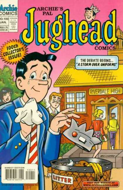 Jughead Comics 100 - Riverdale High School - Uniforms - Crown - Garbage - Tear