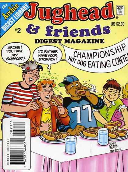 Jughead & Friends Digest 2 - Hot Dog Eating Contest - Plate - Stomach Ache - Banner - Water