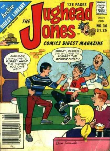 Jughead Jones Digest 36 - Comics Digest Magazine - 128 Pages - One Girl - Three Boys - Drinking And Eating