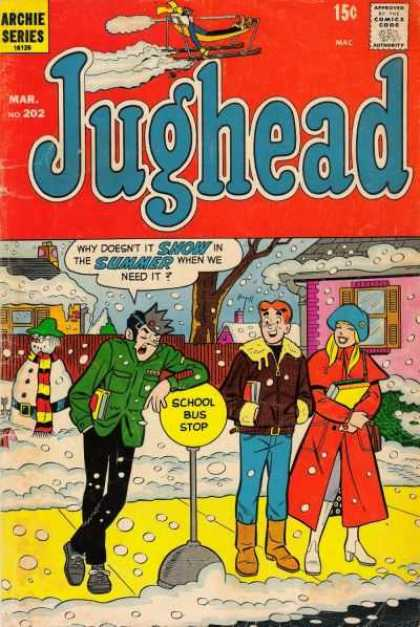 Jughead 202 - Archie Series - Speech Bubble - Bus Stop - Snow - Snowman