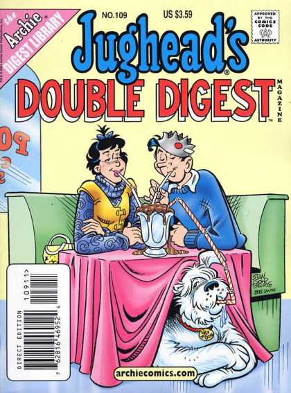 Jughead's Double Digest 109 - Ice Cream Soda - Straws - Girlfriend - Dog - Table