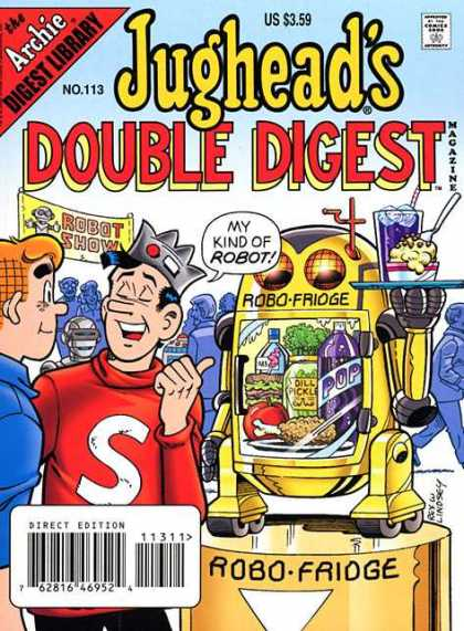 Jughead's Double Digest 113 - Archie - Robo Fridge - Bowl Of Ice Cream - Blue Beverage - Robot Show