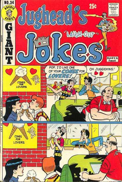 Jughead's Jokes 34 - Archie Series - Approved By The Comics Code - Giant - Ice Cream - Cones For Lovers