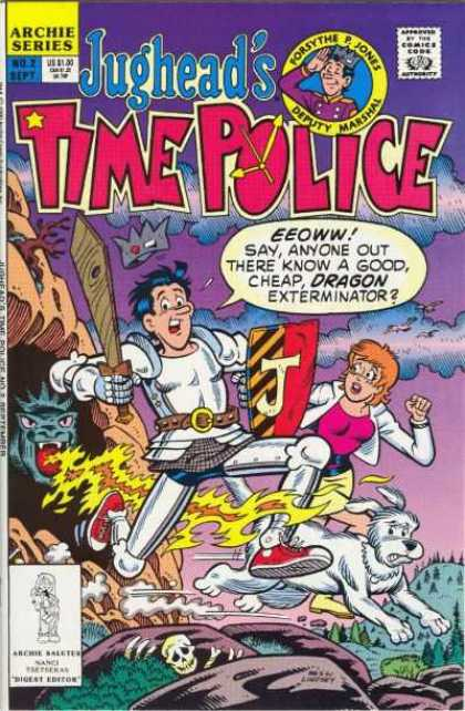 Jughead's Time Police 2 - Archie Series - Approved By The Comics Code - Dragon - Sword - Shield