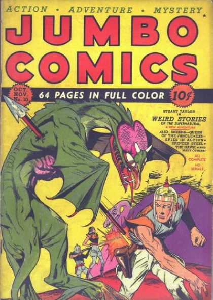 Jumbo Comics 10 - Dragon - Knight - Spear - Fight - Action