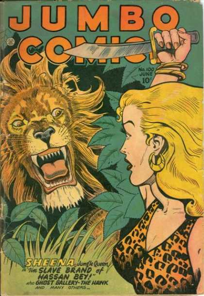 Jumbo Comics 100 - Lion - Sheena - Swords - Jungle - Girl