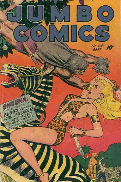 Jumbo Comics 103 - Sheena - Jungle Queen - No 103 - Blood For The Idol Of Blades - Ghost Gallery