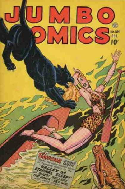 Jumbo Comics 104 - Jungle - Wild Cat - Frog - Boat - Leopard Print Dress