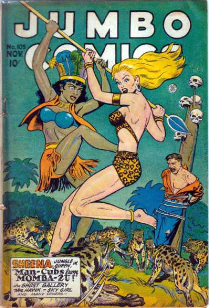 Jumbo Comics 105 - Jungle Girls - Tiger - Girls Talk - Skeleton - Arrow