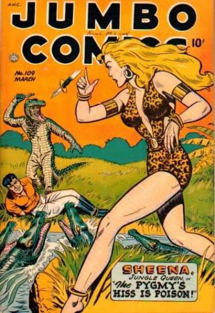 Jumbo Comics 109 - Sheena - Woman - Alligator - Knife - The Pygmys Hiss Is Poison
