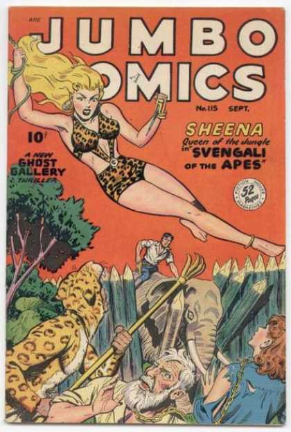 Jumbo Comics 115 - Sheena - Elephant - Sheena Queen Of The Jungle In Svengali Of The Apes - 52 Pages - A New Ghost Gallery Thriller