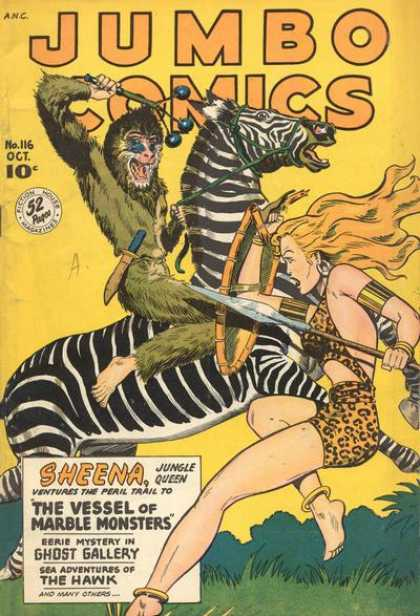 Jumbo Comics 116 - Zebra - Sheena - No 116 Oct - Monkey - Sheena Jungle Queen