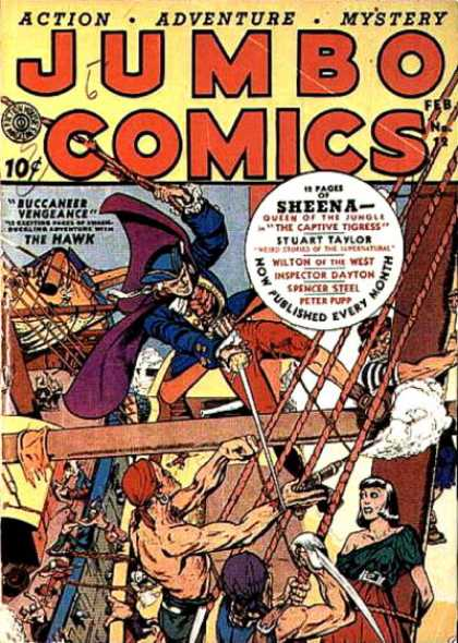 Jumbo Comics 12 - Pirate - Boat - People - Rope - Sword