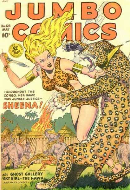 Jumbo Comics 123 - Sheena - Fire - Tiger - Lady - Woman