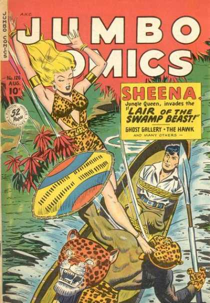 Jumbo Comics 126 - Sheena - Jungle Queen - Jungle - River - Shield