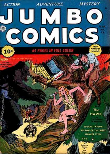 Jumbo Comics 13 - The Hawk - Stuart Taylor - Wilton Of The West - Apes - Jungle