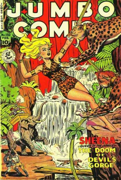 Jumbo Comics 132 - Sheena - Jungle - Cheetah - Vines - Leopards