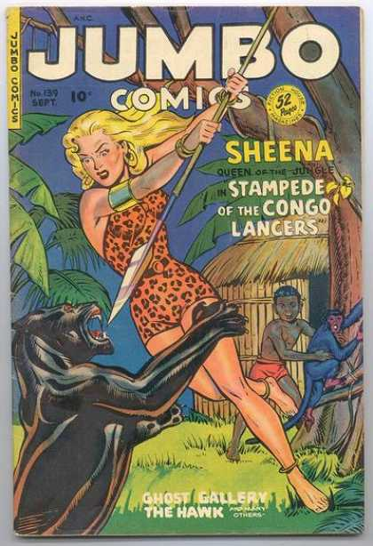 Jumbo Comics 139 - Spear - Panther - Monkey - Hut - Jungle