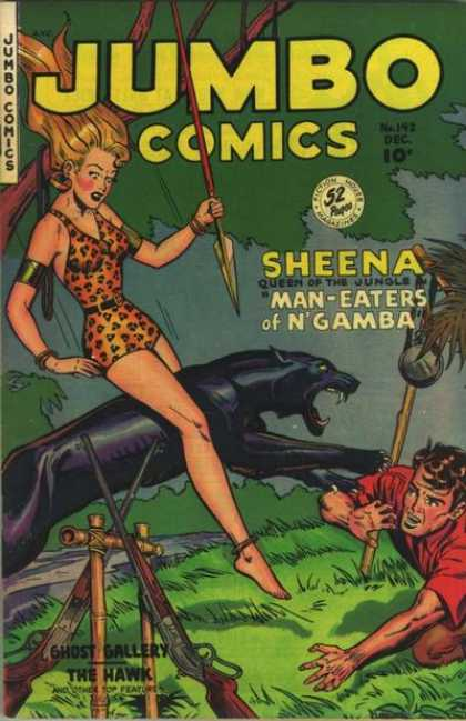 Jumbo Comics 142 - Sheena Queen Of The Jungle - Man-eaters Of Ngamba - Black Panther - Guns And Spear - Leopard Print Bodysuit
