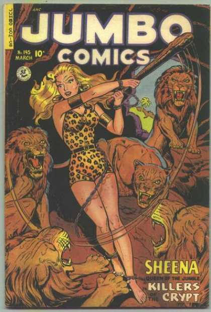 Jumbo Comics 145 - Lions - Cave Woman - Woman Fighting Lions - Leotard - Woman With Club