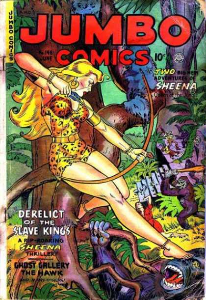 Jumbo Comics 148 - Sheena - Ape - Bow And Arrow - Jumbo Comics - Leopard Print
