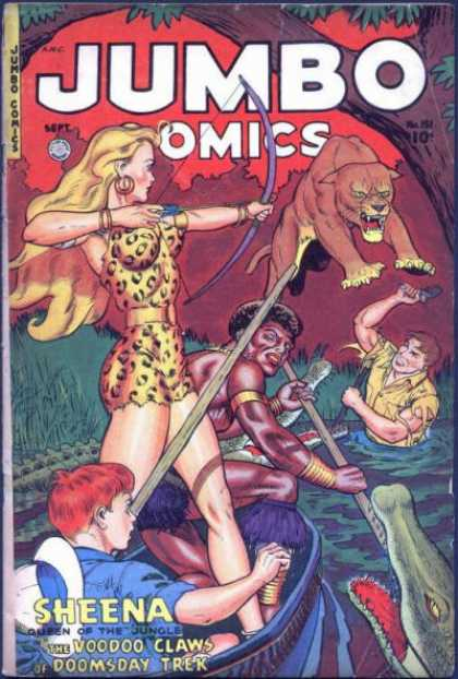 Jumbo Comics 151 - Sheena - Bow - Tree - Crocodiles - Claws