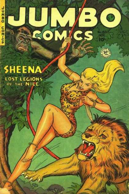 Jumbo Comics 153 - Sheena - Lion - Gorilla - Knife - Tree