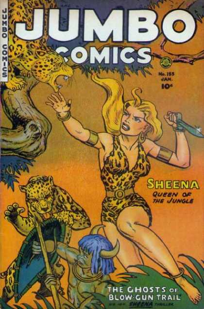 Jumbo Comics 155 - Sheena - Leopard - Queen Of The Jungle - Ghosts Of Blow Gun Trail - Sword