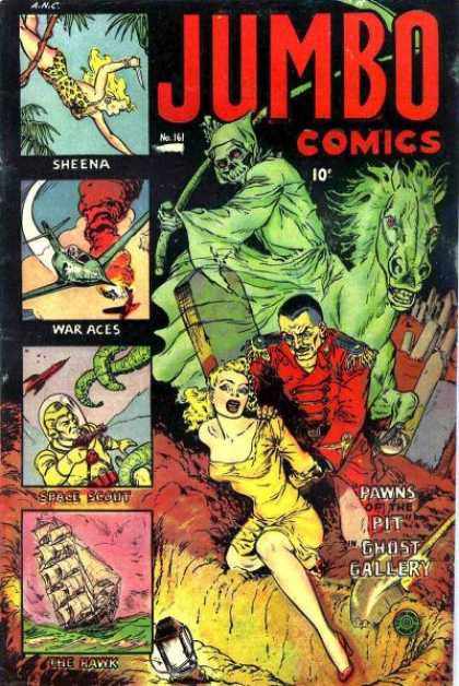 Jumbo Comics 161 - Sheena - War Aces - Damsel In Distress - Boat - The Hawk