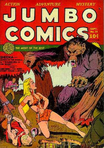 Jumbo Comics 19 - Sheena - Gorilla - Chain - Gun