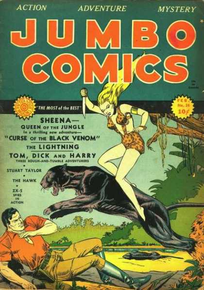 Jumbo Comics 24 - Sheena - Panther - Curse Of The Black Venom - Stuart Taylor - Jungle