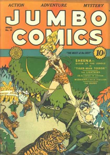Jumbo Comics 26 - Sheena - Action - Adventure - Mystery - Tiger