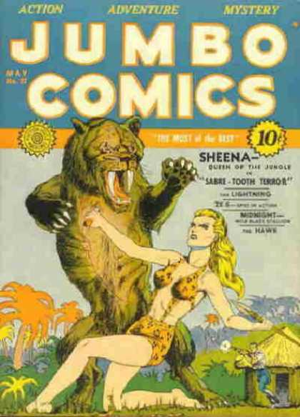 Jumbo Comics 27 - Sheena Queen Of The Jungle - Sabre - Tooth Terror - The Lightning - The Hawk - May