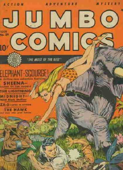 Jumbo Comics 29 - Elephant - Sheena - Knife - Spear