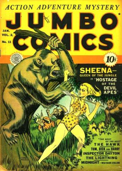 Jumbo Comics 35 - Sheena Queen Of The Jungle - Hostage Of The Devil Apes - Spear - Branch - Ape