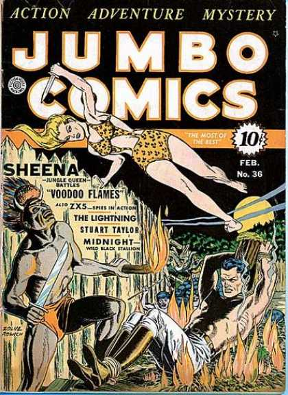 Jumbo Comics 36 - Sheena - Voodoo Flames - Spies In Action - The Lightning - Stuart Taylor