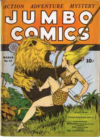 Jumbo Comics 37 - Sheena - Knife - Lion