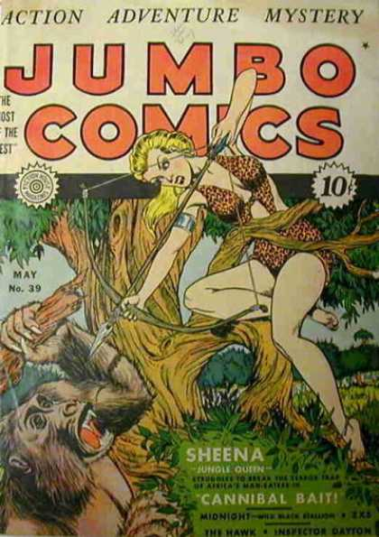 Jumbo Comics 39 - Sheena - Gorilla - Tree - Jungle - Bow