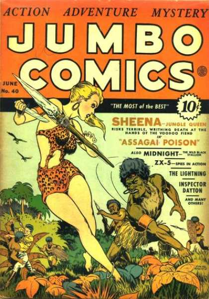 Jumbo Comics 40 - Sheena - June - Assagai Poison - Inspector Dayton - Knife