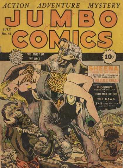 Jumbo Comics 41 - Hut - Elephant - Hunter - Gun - Blonde Girl