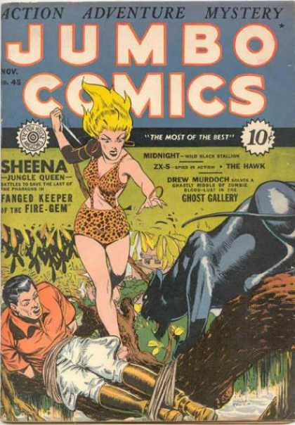 Jumbo Comics 45 - Tied Man - Women With Knife - Black Panther - Man On Ground - Orange Shirt