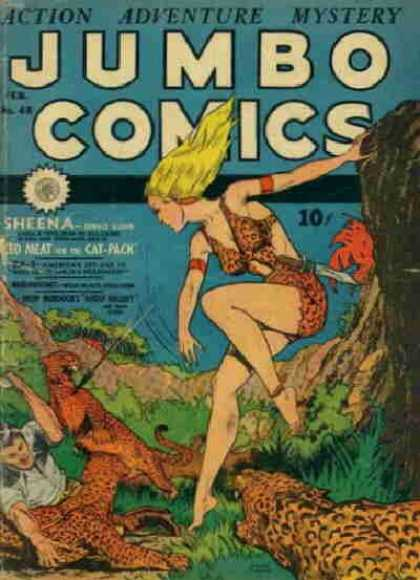 Jumbo Comics 48 - Spear - Jungle - Woman - Leopard - Sheena