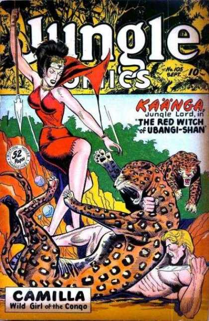 Jungle Comics 105 - Kaanga Jungle Lord - The Red Witch Of Ubangi-shan - Cheetah - Spear - Camilla Wild Girl Of The Congo
